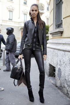 Milan Fashion Week Fall 2013, Joan Smalls, looking long, lean & lovely.  Photo by Anthea Simms