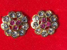 Indian Bollywood style Gold plated vintage CZ stud party ware earrings ADPO4 #lakimanu #Stud Bollywood Style, Indian Bollywood, Bollywood Fashion, Vintage Floral, Diamond Earrings, Plating, Stone, Party, Gold