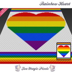 Rainbow Heart is a graph pattern that can be used to crochet a children blanket using (Corner to Corner), TSS (Tunisian Simple Stitch) and other Rainbow Crochet, C2c Crochet, Manta Crochet, Crochet Cross, Crochet Blanket Patterns, Crochet Blankets, Crochet Afghans, Rainbow Afghan, Pixel Crochet Blanket