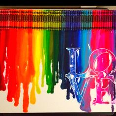 Melted crayon art #love