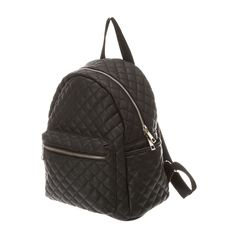 <P>Carry school books and more in this chic backpack. The black faux leather backpack is quilted and features a front zippered pocket and gold accents</P><UL><LI>1 front pocket <LI>2 side pockets<LI>Zip top closure <LI>Grab handle and adjustable shoulder straps <LI>This item is only available in-store for our Canadian customers.</LI></UL>