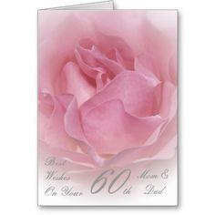 60th Wedding Anniversary Mom  Dad Pink Rose Cards