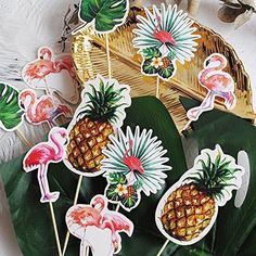 24pcs Flamingo Pineapple Cupcake Toppers Luau Hawaiian Summer Party Decorations #TinkParty #LuauBeachParty