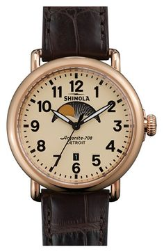 'The Runwell' Moon Phase Leather Strap Watch, 41mm