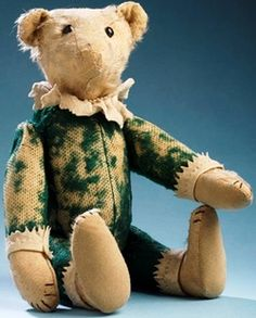 Teddy Bear; Strunz (Wm), Mohair, Jointed, Button Eyes, Jester, 15 inch.