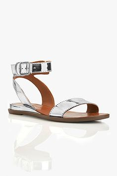 Maura Sandal in Silver SLV) - Maura is sliver wedge sandal with a metallic heel . It features an ankle strap and a single over-the-toe strap. Ankle Strap Heels, Ankle Straps, Metallic Heels, Precious Metals, Wedge Sandals, Cool Style, Wedges, Flats, Toe