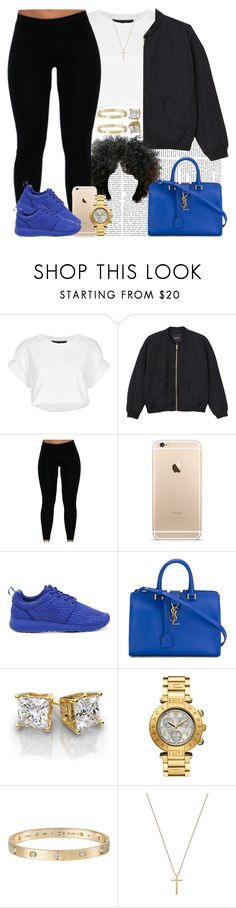 """Blue. "" by livelifefreelyy ❤ liked on Polyvore featuring Topshop, Monki, NIKE, Yves Saint Laurent, Cartier, Gucci, women's clothing, women, female and woman"