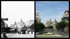 Este es el aspecto que ofrecía la calle del Alcalá, desde la plaza de Cibeles, en 1912, con la calle empedrada y el tranvía a pleno funciona...
