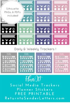 PlanIt! Freebie Friday: Weekly & Daily Social Media Tracker Planner Stickers – FREE printable! | Return to Sender: Letters to the World