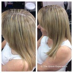 Full head of fine blonde foils.