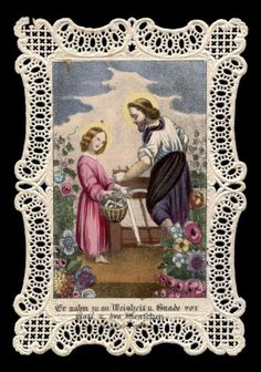 Los dos Vintage Holy Cards, Vintage Christmas Cards, Catholic Prayers, Catholic Art, Catholic Pictures, Religion Catolica, Paper Lace, Prayer Cards, St Joseph