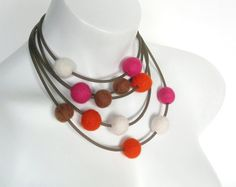 felt ball necklace rubber jewelry felt jewelry felt by frankideas, $45.00