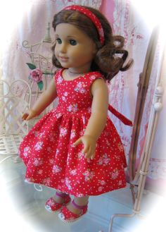 American Girl Doll Clothes / red floral Dress made to by MenaBella, $27.95