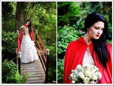 Snow White Red Riding Hood styled shoot inspiration | white rose bouquet