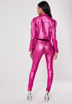 Missguided - Pink Metallic Co Ord Coated Crop Denim Jacket High Fashion Dresses, Pink Fashion, Leather Jeans, Leather Jackets, Disco Pants, Double Denim, Shiny Leggings, Cropped Denim Jacket, Celebrity Outfits
