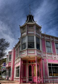 """Pink Victorian"" ~ Golden, Colorado ~ ""Another Victorian store front at Heritage Square"" ~ by Kasey Cline (Kcline78) via Flickr"