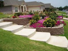 If you're stuck with a sloping front yard, a retaining wall and sidewalk garden can be the perfect garden idea and solution for tough mowing. Description from pinterest.com. I searched for this on bing.com/images