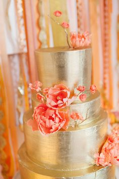 New York Wedding II by A.a.B. Creates, Metallic gold wedding cake with coral flowers by Nine Cakes.  Photography by Heather Waraksa + Dave Robbins.