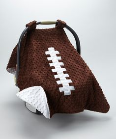 Look at this Brown Minky Dot Football Car Seat Cover on #zulily today!