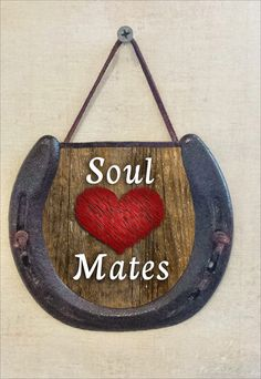 Soul Mates Horseshoe Wall Hanging, Valentine's Day Gift, Perfectly Aged Patina, Leather Lace Accent, Romantic Heart Gift, Good Luck