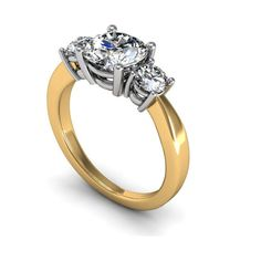 Three Stone Diamond Ring set with Yellow and White Gold