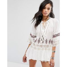Free People You're Mine Tunic Top ($185) ❤ liked on Polyvore featuring tops, tunics, multi, neck ties, stretch top, ruched tunic, ruched tops and viscose tops