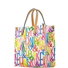IT'S DEFINITELY A BARGAIN!  NEW WITH TAGS, AUTHENTIC & VERY CUTE!  DOONEY & BOURKE IT SHOPPER, CLEAR WITH MULTI-COLOR DB'S.  EASY TO CLEAN ACRYLI ...