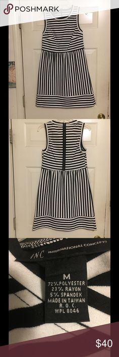INC International Concepts Dress Worn Once!  INC International Concepts black and white stripped dress. For sizing information please refer to the INC International Concepts size chart Included with. The pictures.  I wore this dress once to my nieces wedding rehearsal dinner. INC International Concepts Dresses