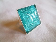 """Bright Teal Glitter Nail Polish Adjustable Ring: 25mm / 1"""" Glass Square in Silver Tray Ring Setting"""
