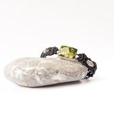 Rainforest Jasper bracelet, Stone bracelet, macrame bracelet, macrame wrist bracelet, silver and natural stones, zen, Tribal, Boho, gift