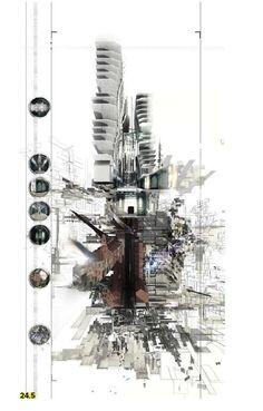 The Post-Human Experiment (Unit Douglas Fenton 2013 Architecture Concept Drawings, Architecture Collage, Architecture Graphics, Architecture Portfolio, Architecture Design, Gothic Architecture, Architecture Presentation Board, Architectural Section, Architectural Sketches