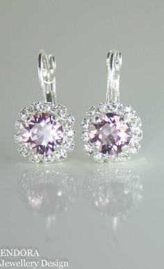 Swarovski earrings,crystal earrings,crystal drop earrings,lilac wedding,lilac crystal earrings,swarovski light amethyst earrings,mauve