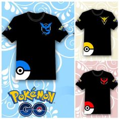 Hot 2016 POKEMON GO Shirt Team INSTINCT Mystic Valor Funny t shirt Mens T-shirts Cotton Tee Tops Casual Brand Clothing 8109