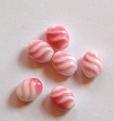 Vintage Pink and White German Glass Beads by yummytreasures