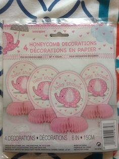 Baby Shower Decorations GIRL Pink Elephant 4x Honeycomb Party Table Centrepieces