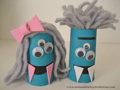 Monstruos Halloween de rollos de papel higiénico. Toilet paper monsters. Monstres avec rouleaux de papier toilette