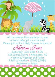 zoo jungle animals  baby shower invitation by BellasnFellas, $8.50