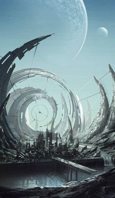Old plnet by Melaamory on DeviantArt Fantasy Art Landscapes, Fantasy Artwork, Landscape Art, Fantasy City, Fantasy World, Arte Cyberpunk, Futuristic City, Futuristic Architecture, Wow Art