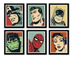 Comic Nursery Number Art, 11x14 - Batman, Superman, Spiderman, Wonder Woman, Hulk, Captain America -- Photo Print - DC Comic - One Print