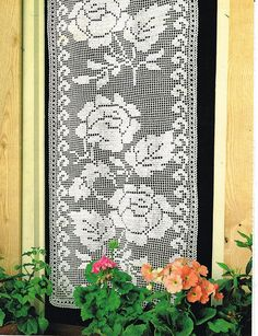 Pattern to Make PRETTY ROSES FLOWERS CURTAINS ~~ FILET Crochet PATTERN