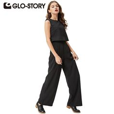 GLO-STORY 2017 Womens Jumpsuit Summer High Waist Slim Pocket Women Jumpsuit Romper Black O-neck Fashion Sleeveless WYK-4238  #glam #love #pretty #swag #stylish #fashion #shopping #cool #iwant #instalike
