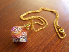 dice necklace D100 dice pendant dungeons adn dragons dice jewelry dnd polyhedral dice coloful gold purple pink