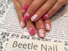 pink x flower <3 <3 cute :) ネイル - 滋賀県の人気ネイルサロン : arte Beetle nail お花3Dパステルネイル