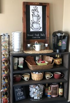 Has this homey and inviting feeling. you can't say no to a cup of coffee there! ☕️ (Originally posted as Until my new coffee area is complete.this is our coffee/hot chocolate bar/station/area. Coffee Area, Coffee Nook, Coffee Bar Home, Coffee Corner, Coffee Bar Station, Home Coffee Stations, Tea Station, Coffee Station Kitchen, Coffee Bar Design