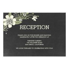 Matching items available. Visit our store at BERRYBERRYSWEET.COM for more options. Design © Berry Berry Sweet Designs #wedding #chalkboard #floral #rustic #modern #enclosure #cards #directions #cards #reception cards