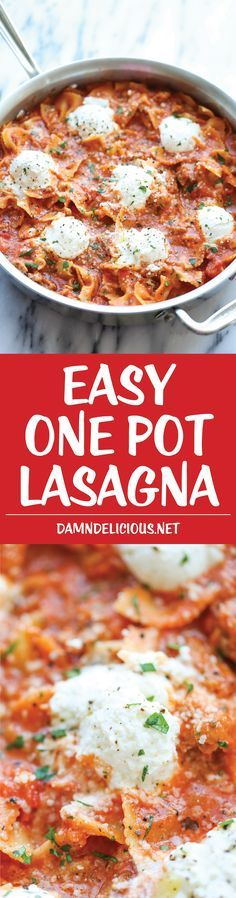 Easy One Pot Lasagna - The easiest 30 minute lasagna made in a single pot - no boiling, no layering, nothing - the pasta gets cooked right in the pan! Pasta Recipes, Dinner Recipes, Cooking Recipes, One Pot Recipes, Healthy Recipes, Think Food, I Love Food, Italian Dishes, Italian Recipes