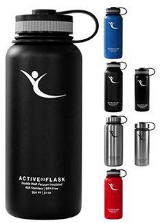Trinkflasche ACTIVE FLASK von BeMaxx Fitness + 3 Trinkver…