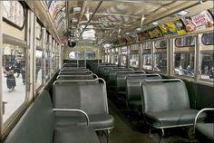 interior of 60's bus