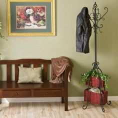 Love this coat rack...but would spray paint the baskets a different color...
