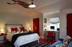 boy room - Kristen Panitch Interiors - Spectacular red & blue boy's bedroom design! Gray & blue ...